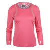 Women`s Valentina Long Sleeve Tennis Top Floral Pink by BOLLE