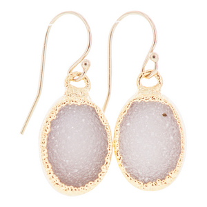 Gold Plated Oval Blush Colored Druzy Earrings