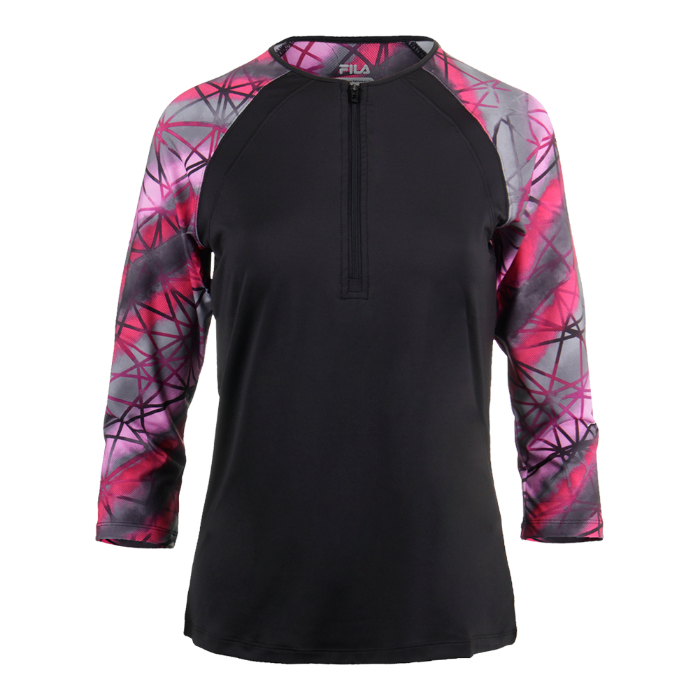 Women's Sleek Zip Neck 3/4 Sleeve Tennis Top Black And Print