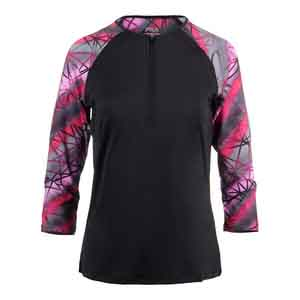 Women`s Sleek Zip Neck 3/4 Sleeve Tennis Top Black and Print