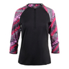 FILA Women`s Sleek Zip Neck 3/4 Sleeve Tennis Top Black and Print