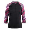 FILA Women`s Sleek Zip Neck 3/4 Sleeve Tennis Top Black and Print