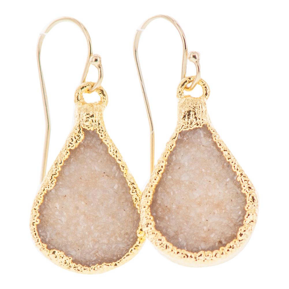 Gold Plated Small Teardrop Peach Druzy Earrings