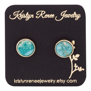 Gold Plated Turquoise Round Druzy Stud Earrings