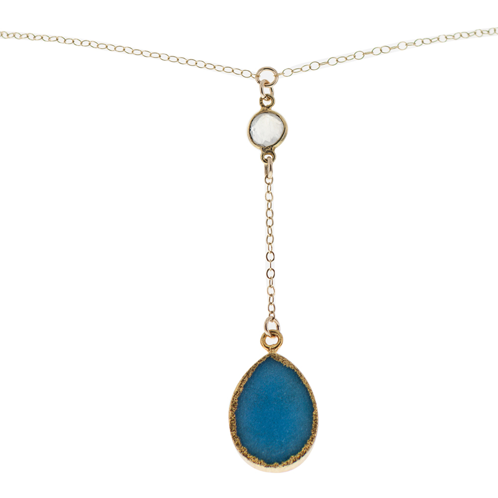 Gold Plated Teardrop Blue 16 Inch Y- Necklace