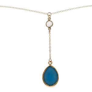Gold Plated Teardrop Blue 16 Inch Y-Necklace