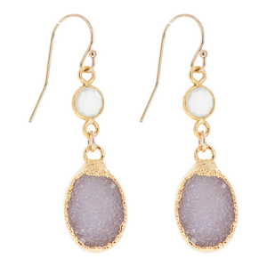 Gold Plated Oval Blush Colored Druzy Earrings with Accent