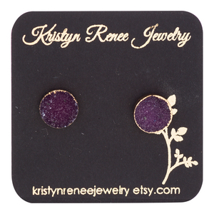 Gold Plated Wine Colored Round Druzy Stud Earrings