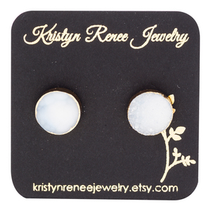 Gold Plated White with a Hint of Blue Round Druzy Stud Earrings