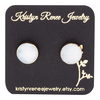 KRISTYN RENEE JEWELRY Gold Plated White with a Hint of Blue Round Druzy Stud Earrings