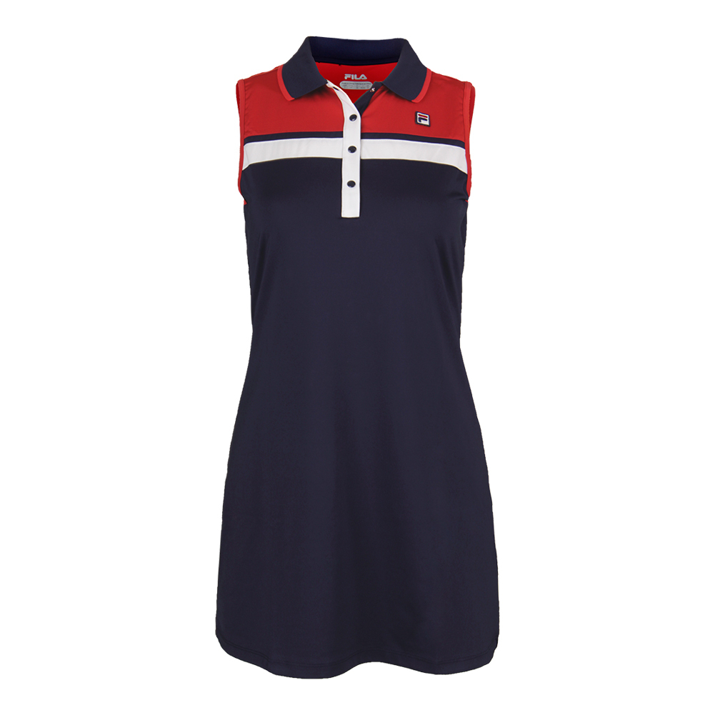 Women's Heritage Polo Tennis Dress Navy And Chinese Red