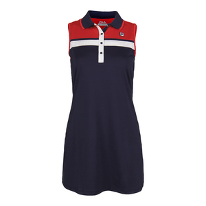 Women`s Heritage Polo Tennis Dress Navy and Chinese Red