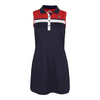 FILA Women`s Heritage Polo Tennis Dress Navy and Chinese Red