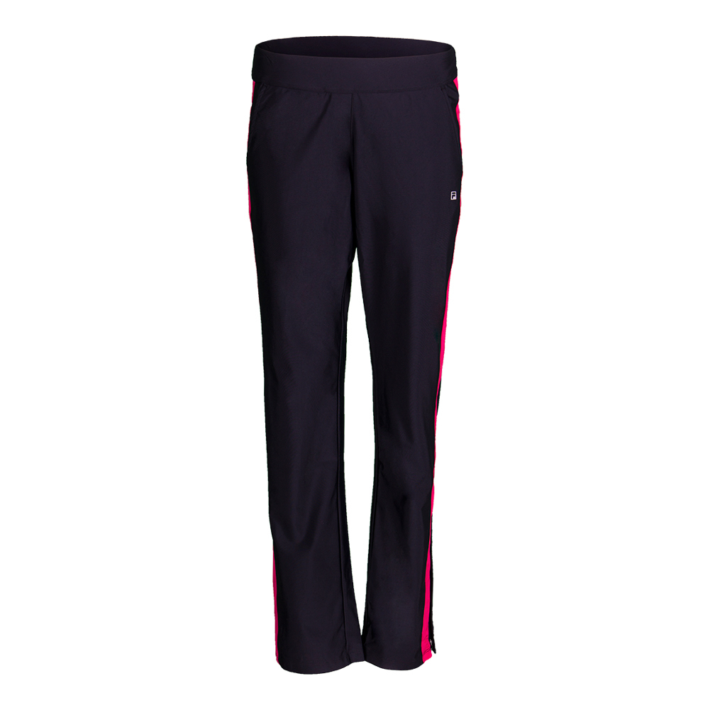 Women's Sleek Tennis Pant Black And Ruby Rose