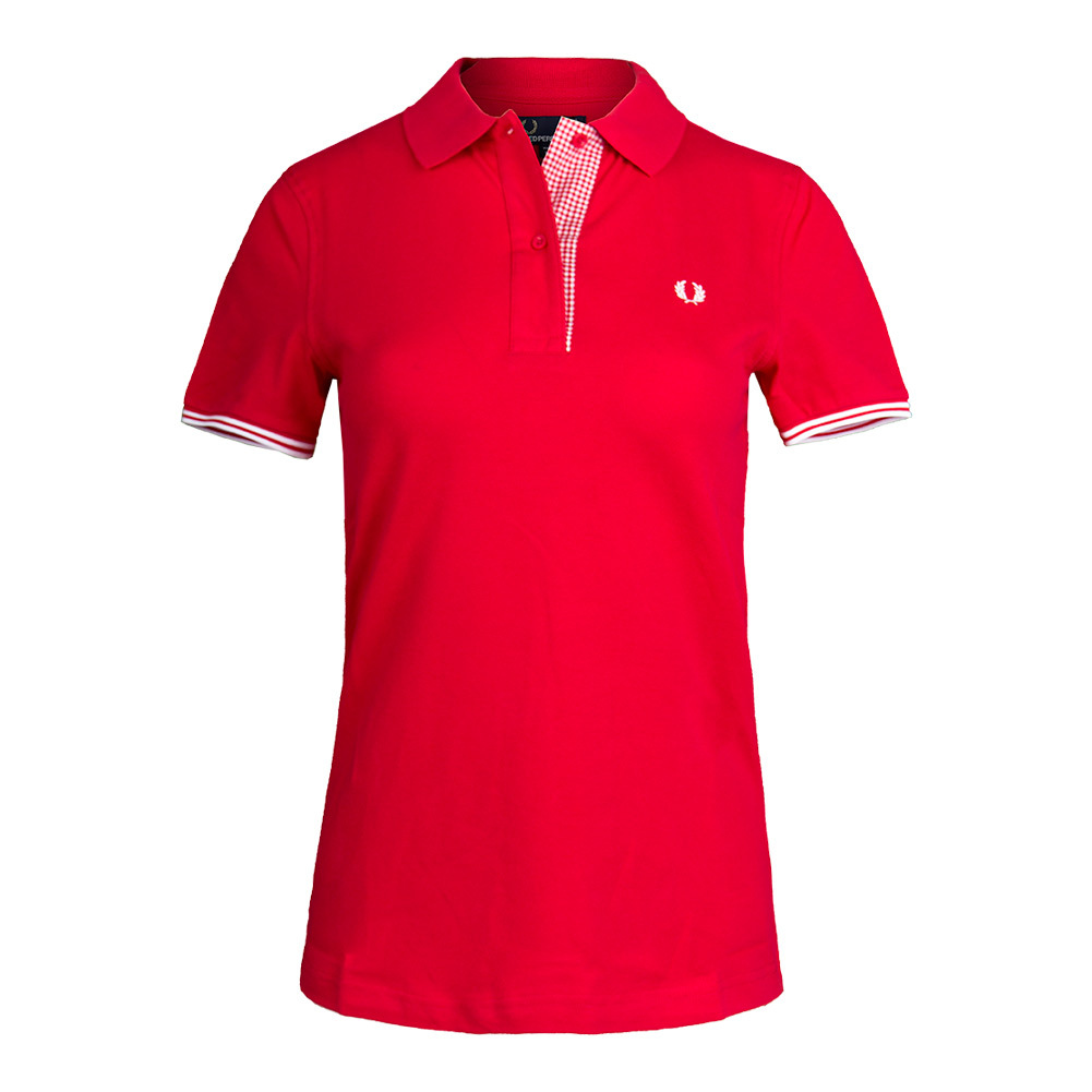 Women's Gingham Trim Pique Tennis Polo England Red