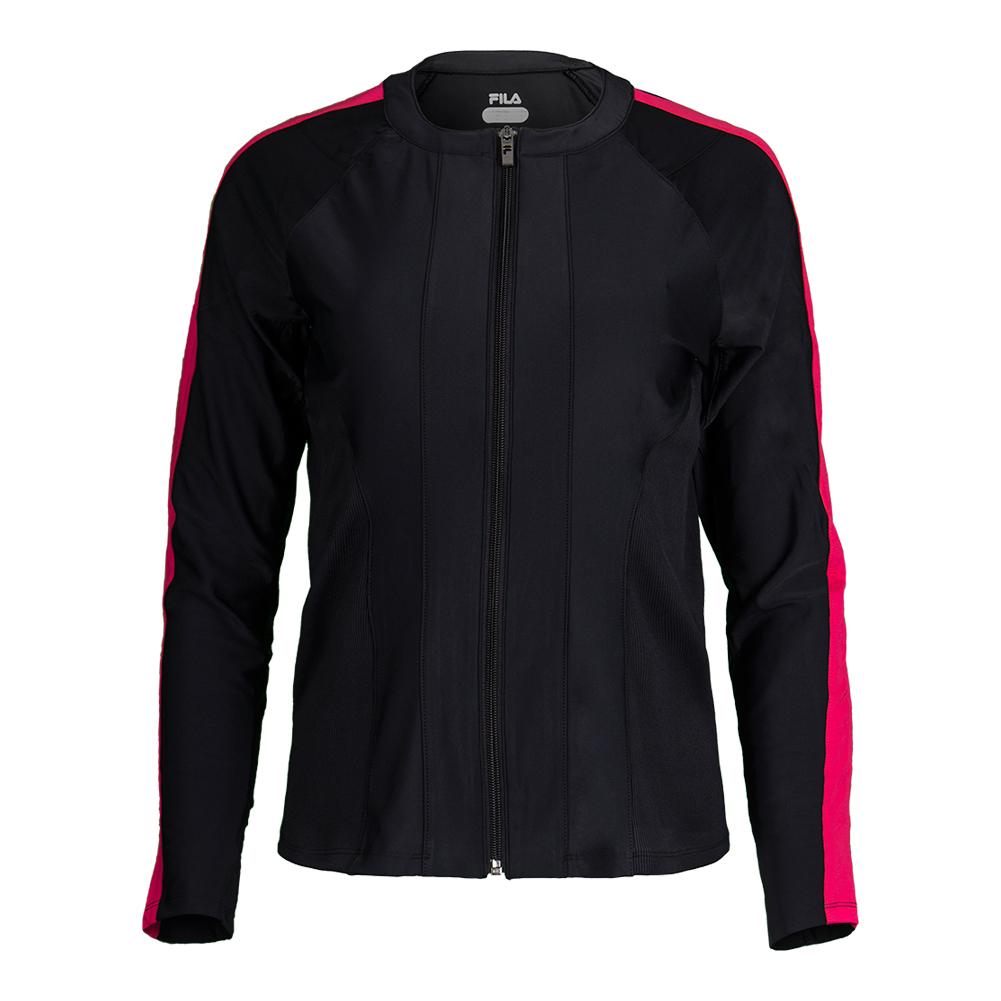 Women's Sleek Tennis Jacket Black And Ruby Rose