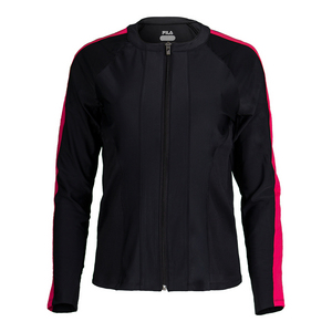Women`s Sleek Tennis Jacket Black and Ruby Rose