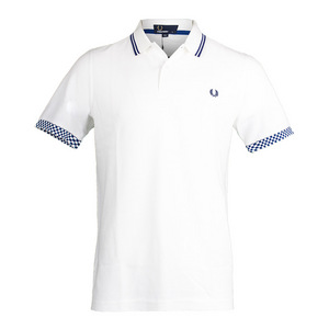 Men`s Checkerboard Cuff Pique Tennis Polo White