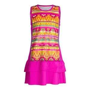 Girls` Paint the Lines Tennis Dress Pink Glow Print