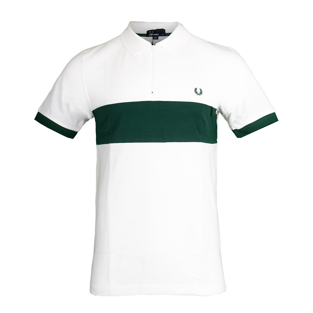 Men's Chest Panel Pique Tennis Polo Snow White