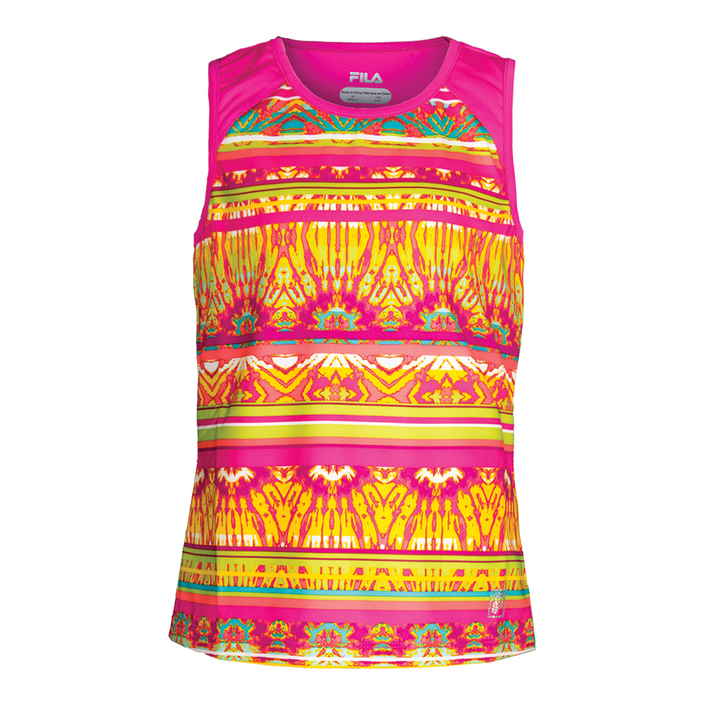 Girls ` Paint The Lines Tennis Tank Pink Glow Print