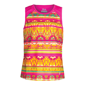 Girls` Paint the Lines Tennis Tank Pink Glow Print