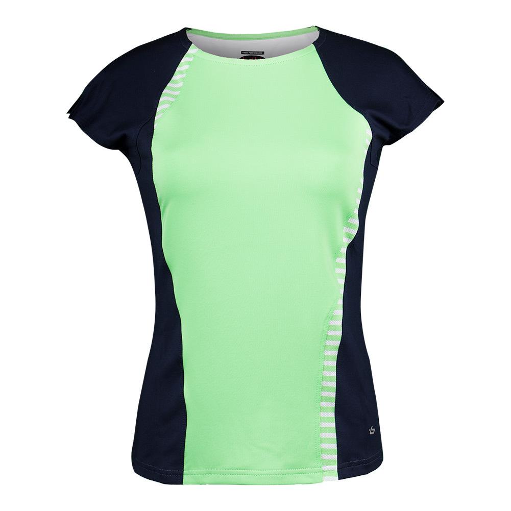 Women's Penelope Cap Sleeve Tennis Top Green And Black Iris