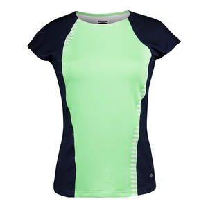 Women`s Penelope Cap Sleeve Tennis Top Green and Black Iris