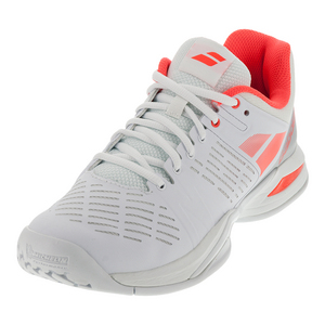 Women`s Propulse Team All Court Tennis Shoes White and Fluro Red