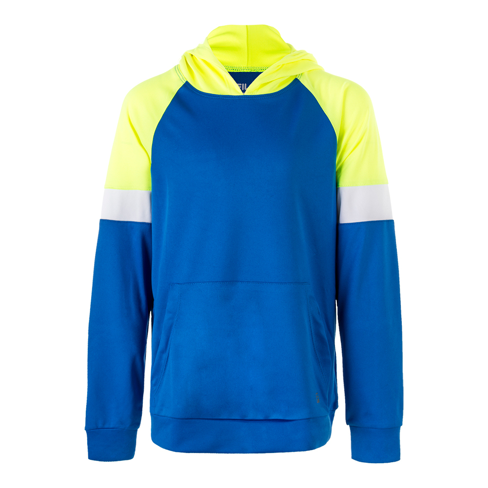 Boys ` Modern Tennis Hoody Electric Blue And Safety Yellow