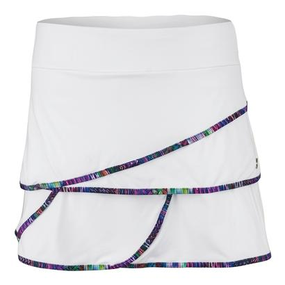 Women`s Wave Tennis Skirt White and Print