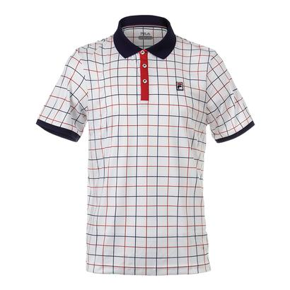 Men`s Heritage Windowpane Tennis Polo White and Navy