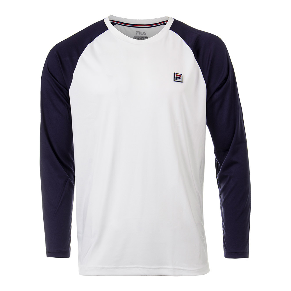 Men's Heritage Long Sleeve Tennis Crew White And Navy