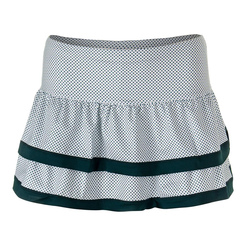 Women's Dot To Dot Border Teir Tennis Skort White
