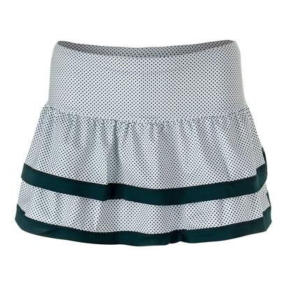Women`s Dot to Dot Border Teir Tennis Skort White