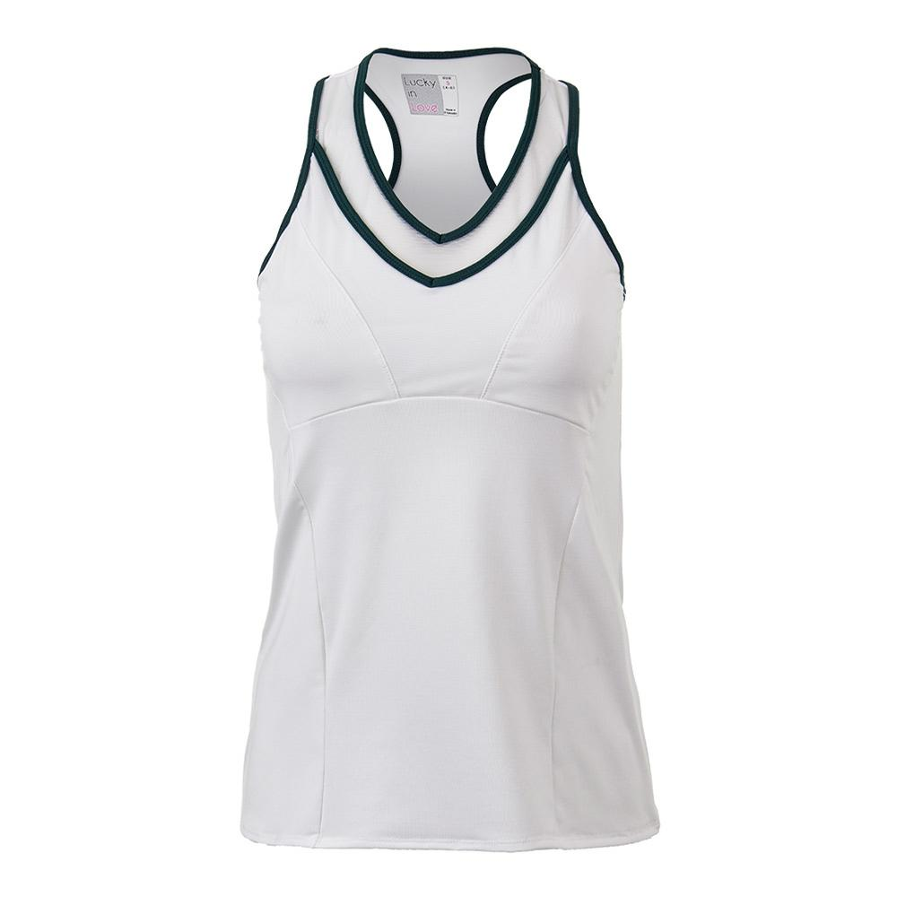 Women's Mesh V- Neck Racerback Tennis Tank White