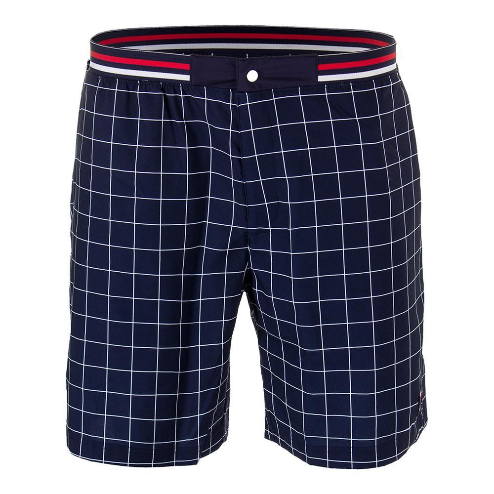 Men's Heritage Windowpane Tennis Short Navy And White