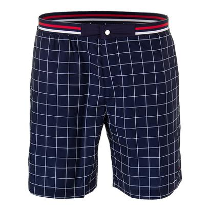 Men`s Heritage Windowpane Tennis Short Navy and White
