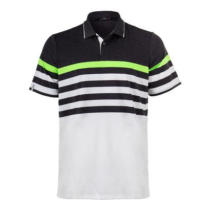 Men`s Engineered Stripe Tennis Polo Onyx Heather and White