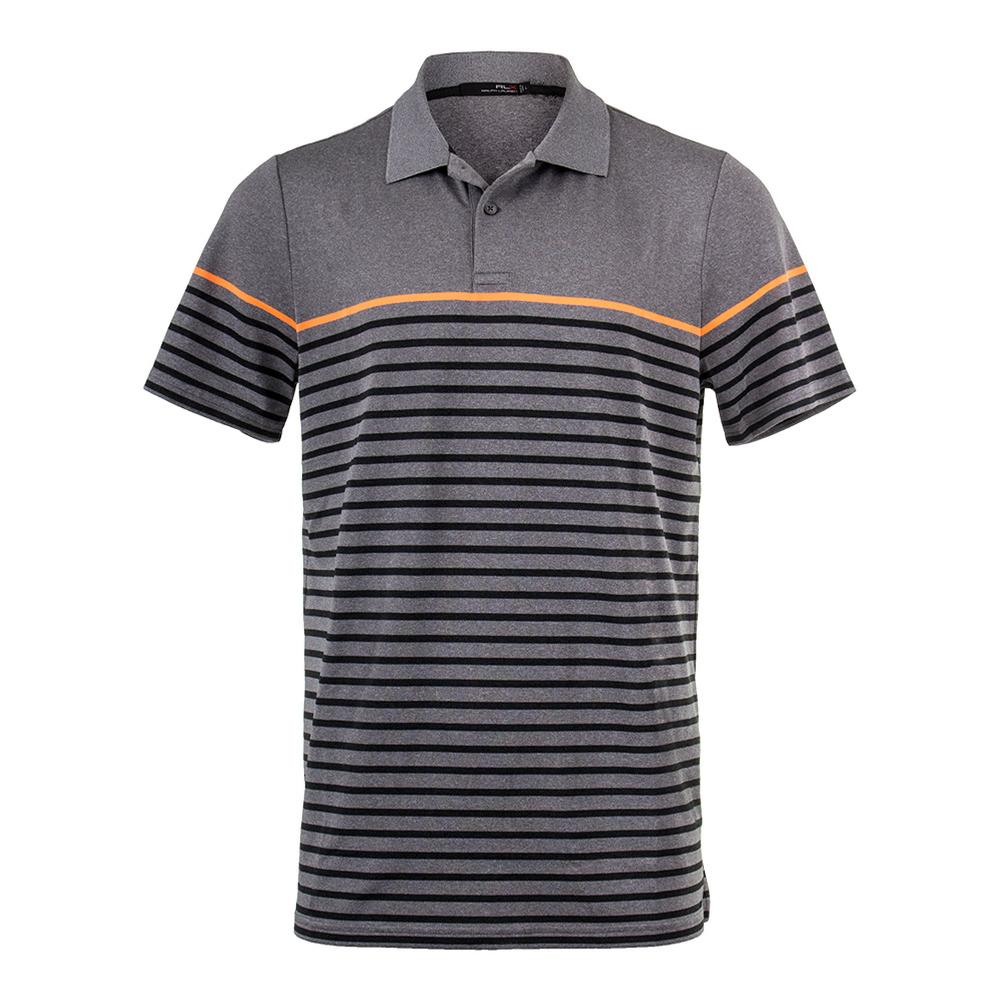 Men's Striped Engineered Polo Gray Heather