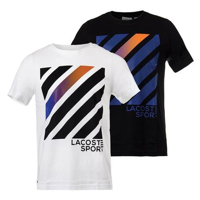 Men`s Lifestyle Stripe Square Graphic Tennis Tee