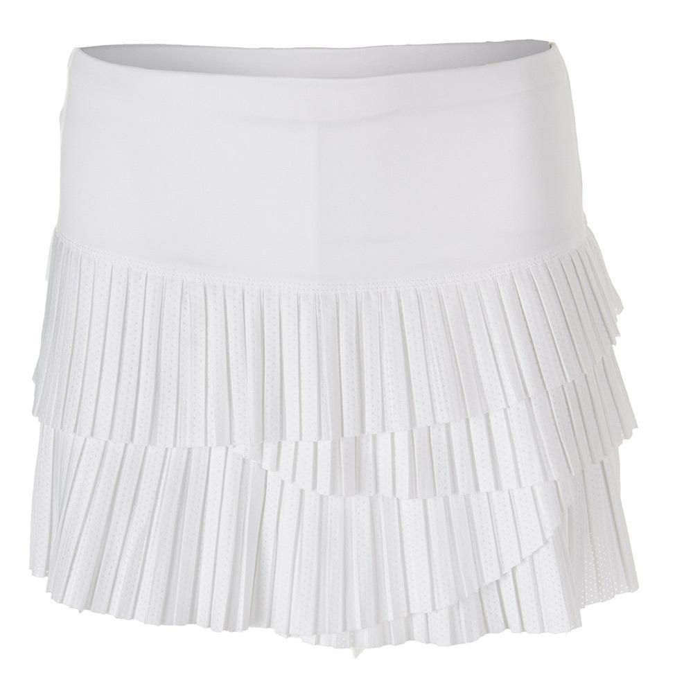 Women's Pindot Pleat Scallop Tennis Skort White