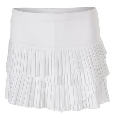 Women`s Pindot Pleat Scallop Tennis Skort White