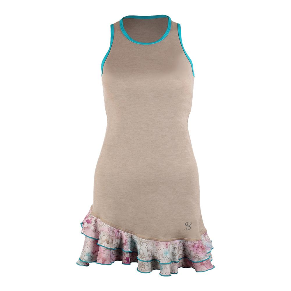 Women's Full Back Tennis Tank Dress Sand And Prevail Print