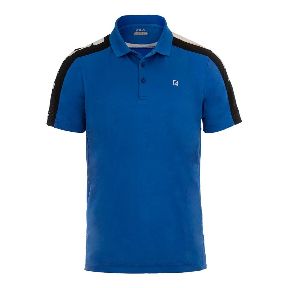 Men's Printed Tennis Polo 80s Blue