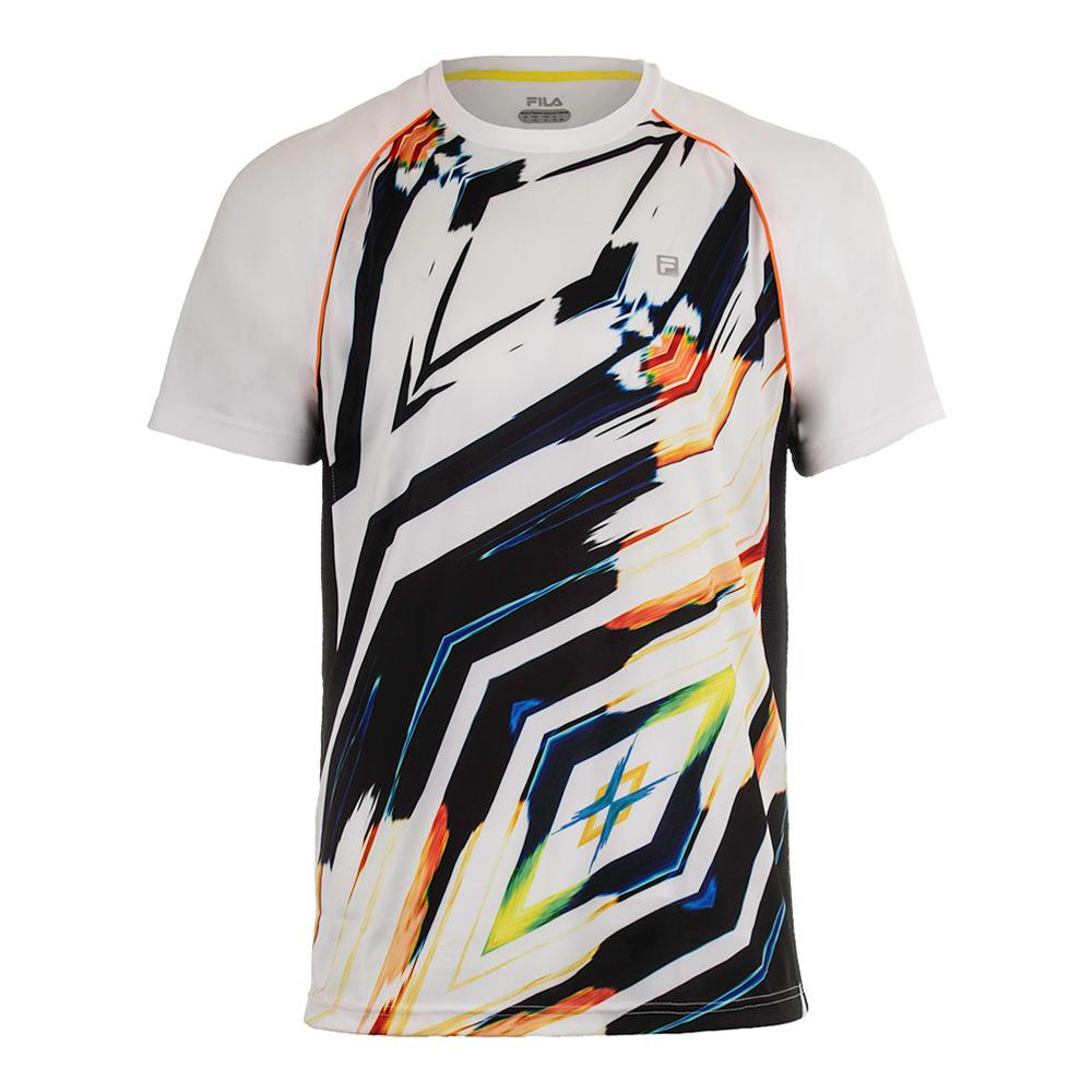 Men's Zephyr Print Tennis Crew White And Black