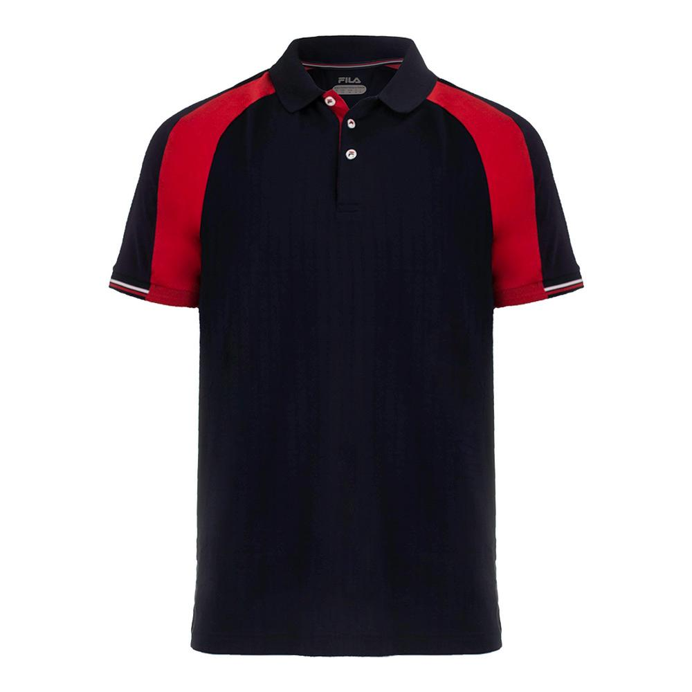 Men's Heritage Textured Tennis Crew Chinese Red And Navy