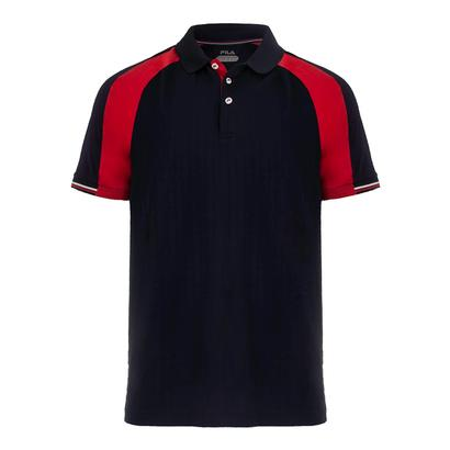 Men`s Heritage Textured Tennis Crew Chinese Red and Navy