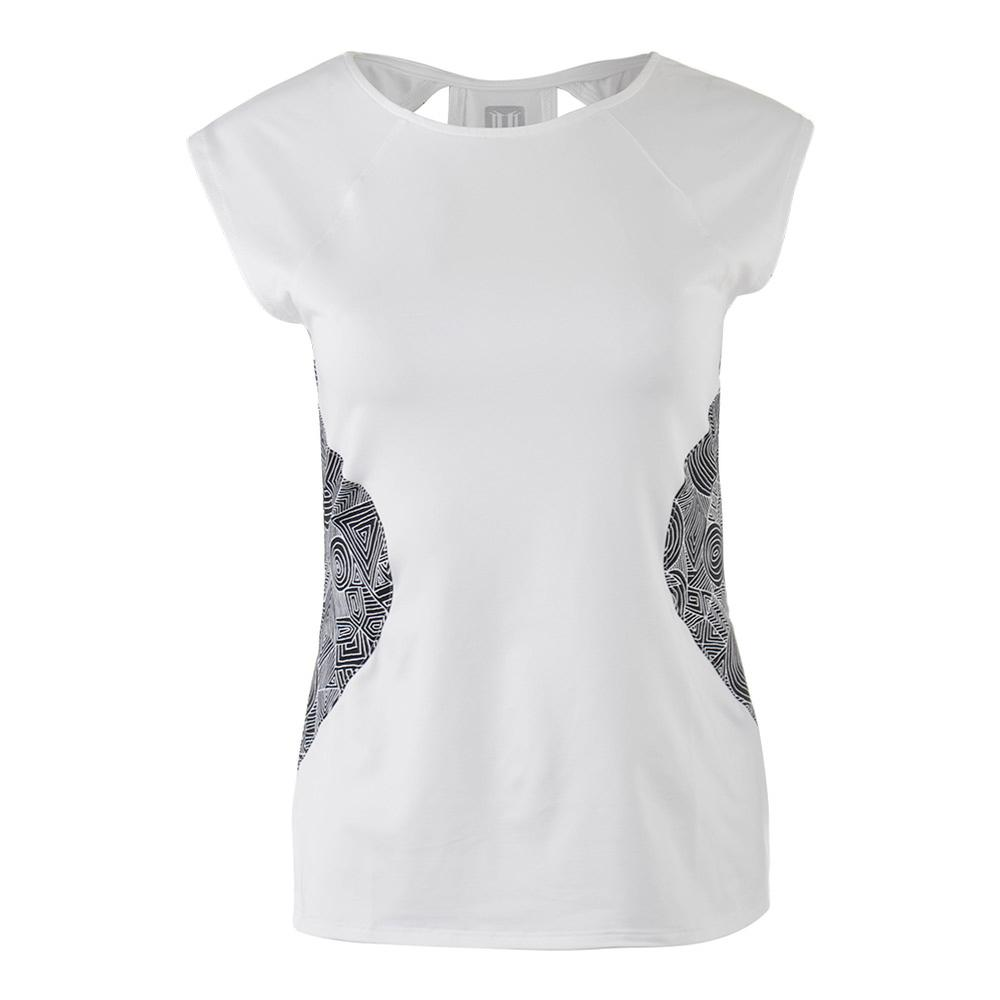 Women's Center Stage Cap Sleeve Tennis Top White
