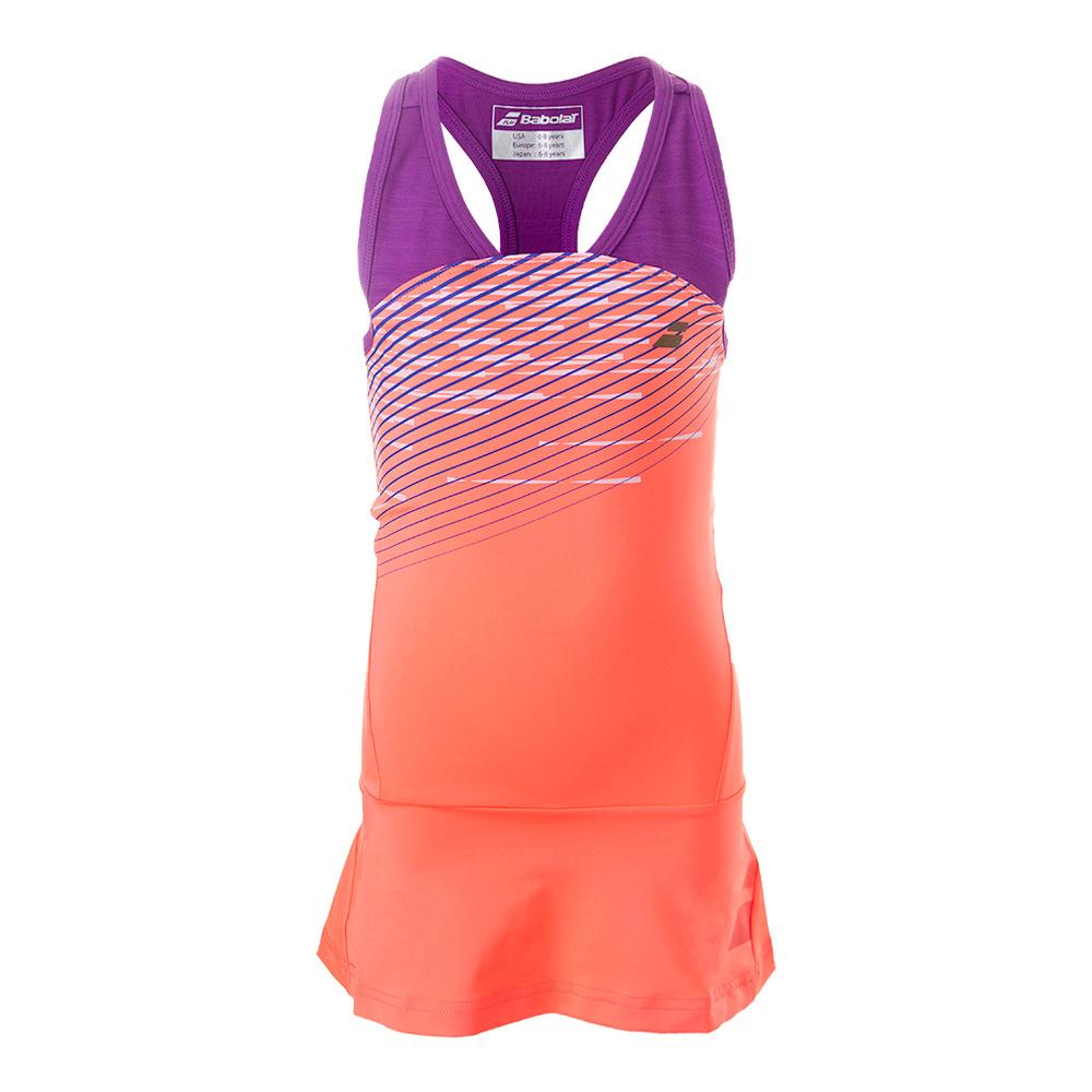 Girls ` Performance Racerback Tennis Dress Fluro Red